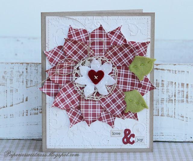 Homespun Poinsettia Card