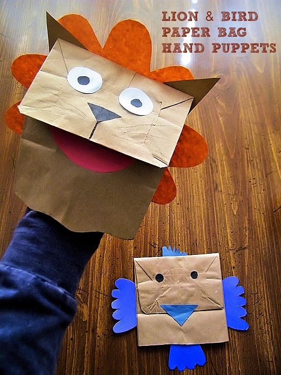 Lion & Bird Paper Bag Hand Puppets