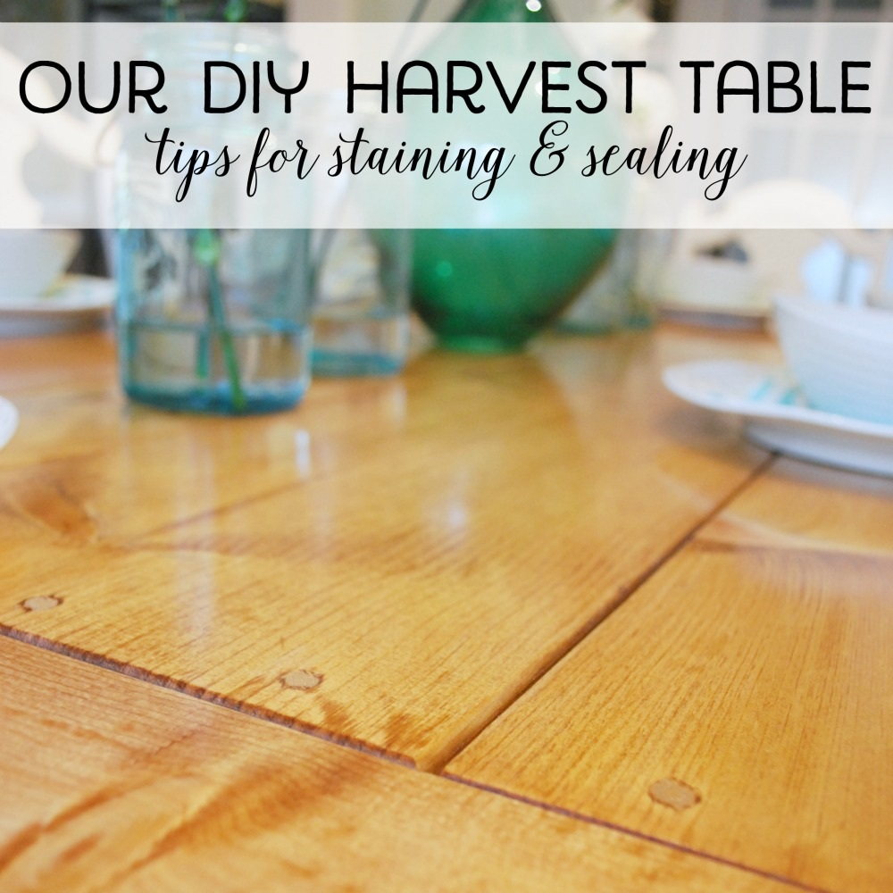 Our DIY harvest table sanding, staining & sealing