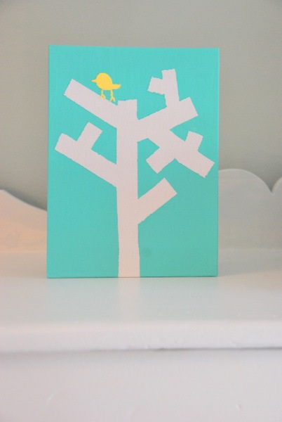 DIY artwork with tape a tree canvas