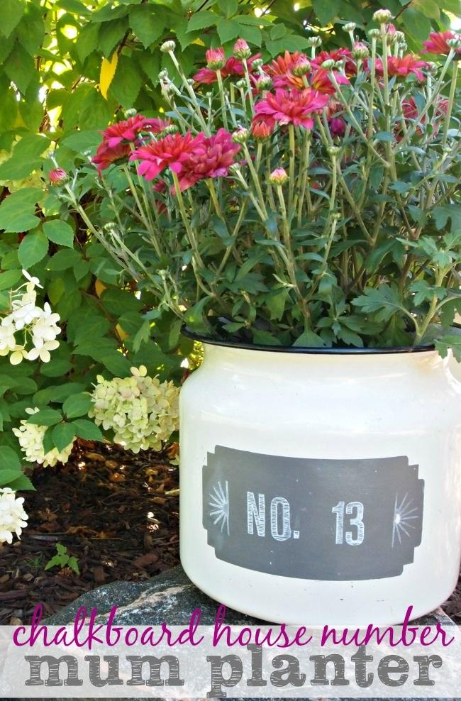 Chalkboard House Number Mum Planter