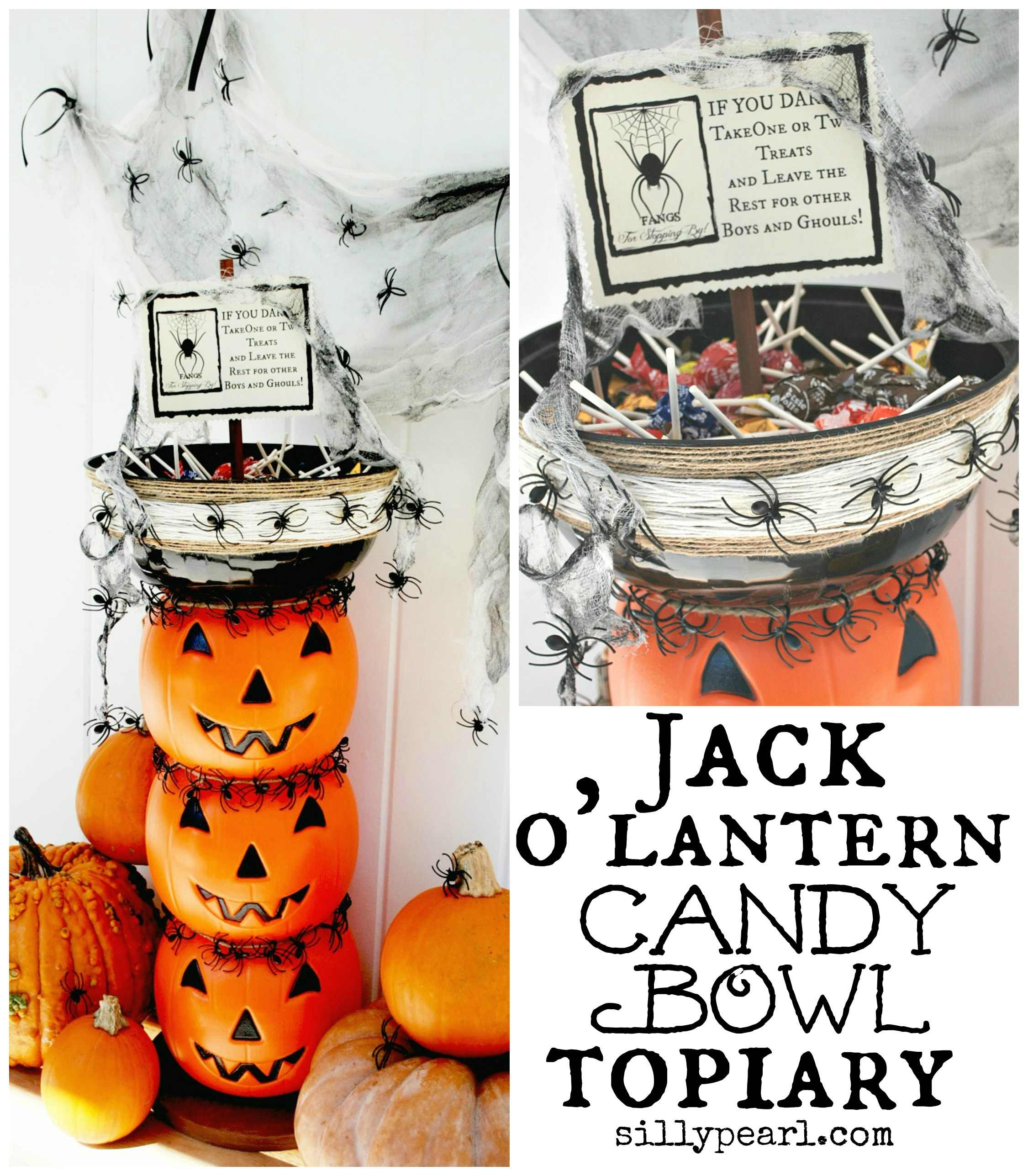 Stacked Pumpkin Halloween Candy Bowl Topiary