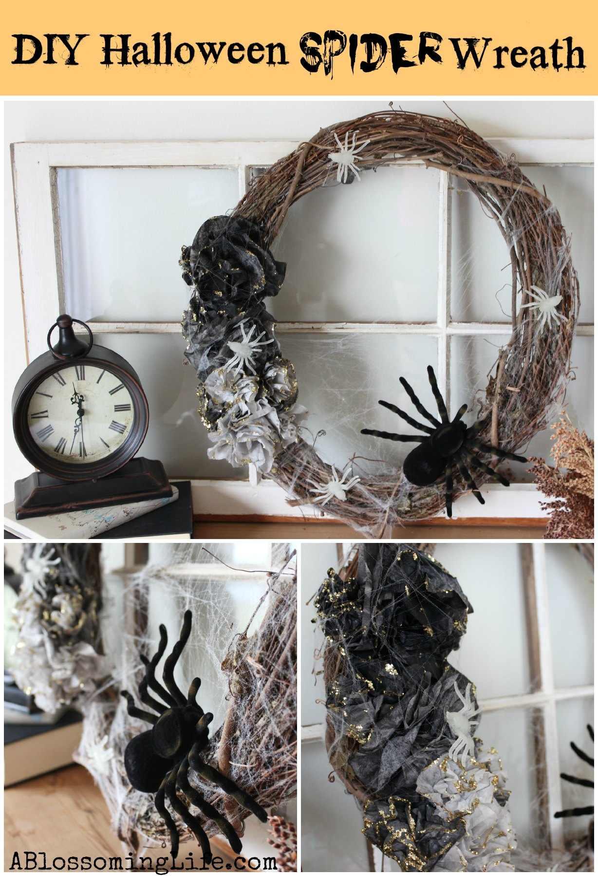 DIY Ombre Halloween Spider Wreath
