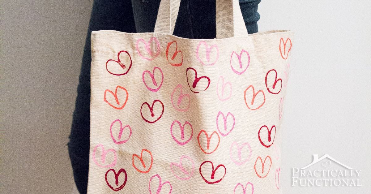 Stamped Heart Tote Bag