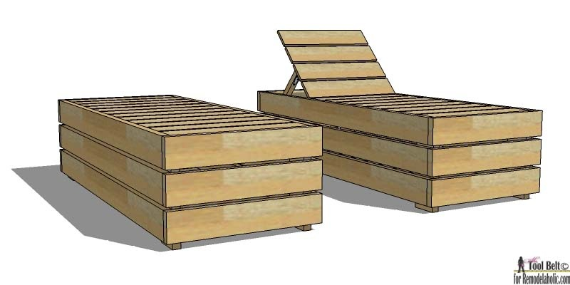 DIY Reclining Outdoor Lounge Chair with Storage