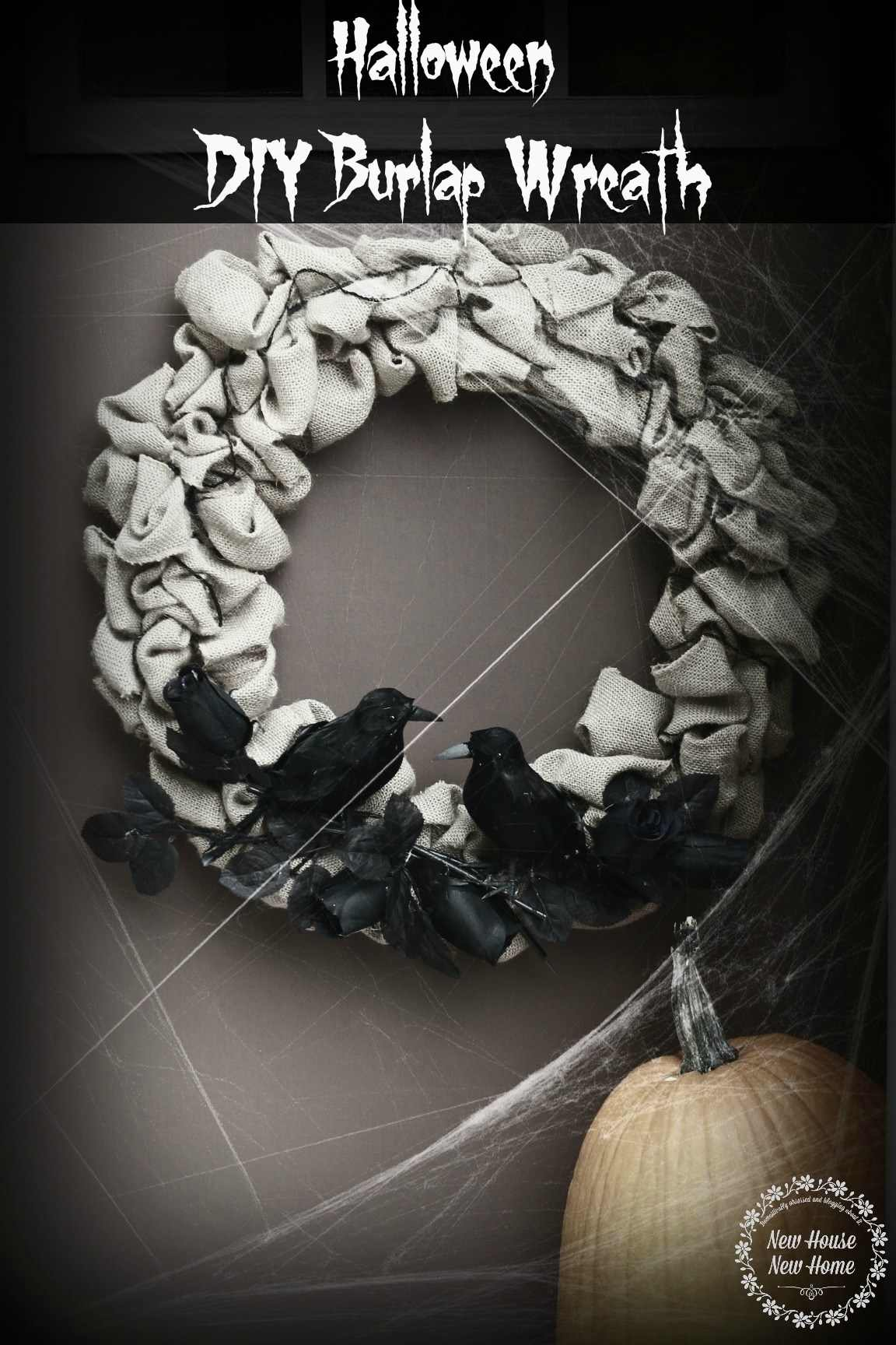 DIY Burlap Wreath Dressed for Halloween