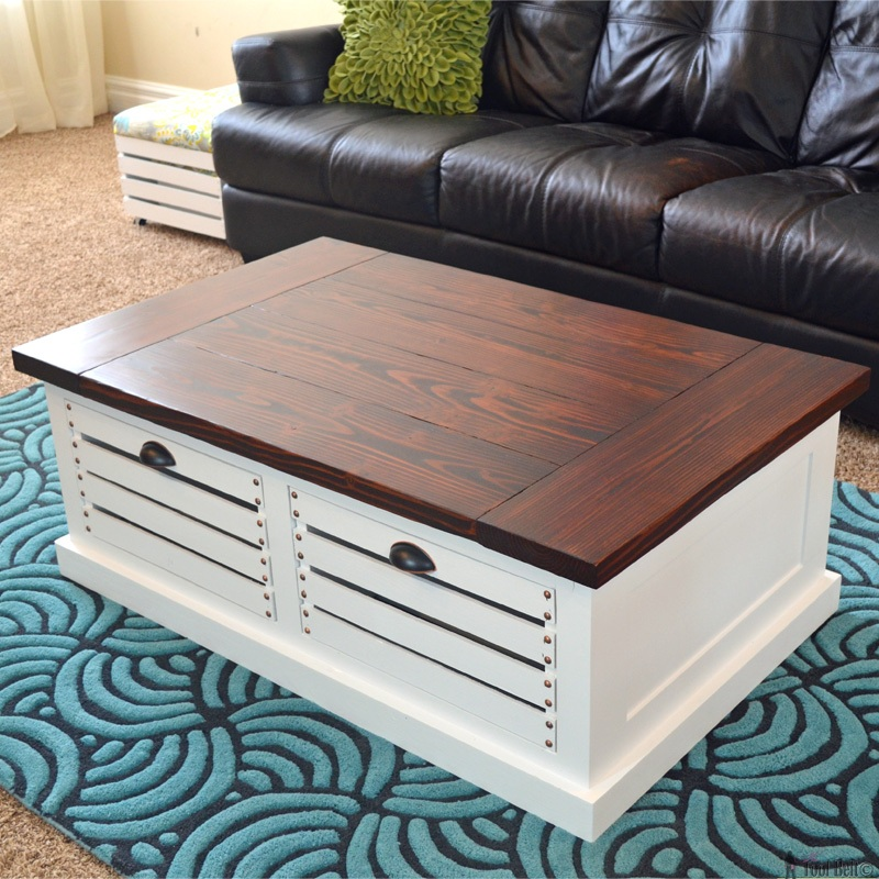 Crate Storage Coffee Table and Stools