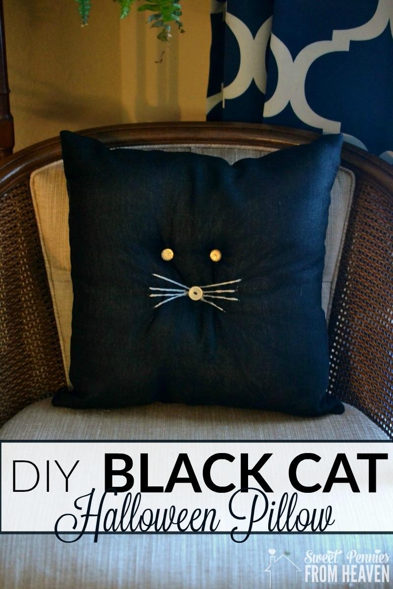 DIY Black Cat Pillow Primitive Farmhouse Halloween Craft