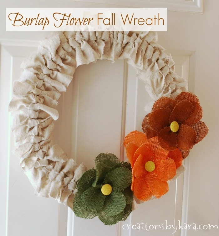 Fall Wreath with Burlap Flowers