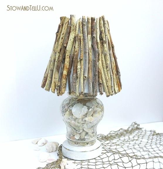 Coastal Inspired DIY Twig Lamp Shade Stow&TellU