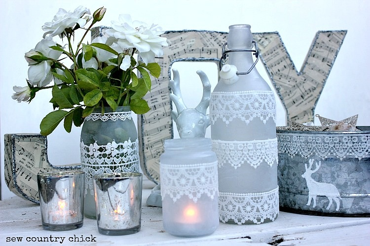 Etched and lace mason jars and bottles #msholiday