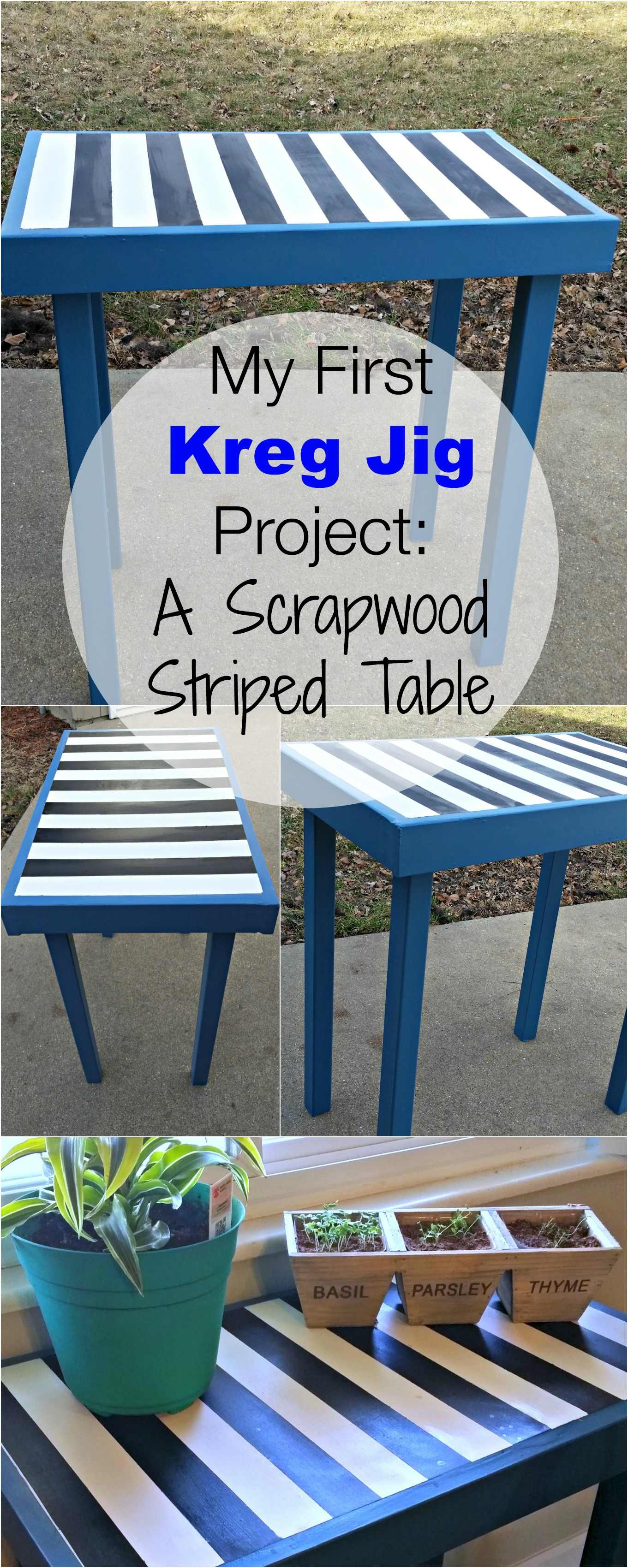 My First Kreg Jig Project An Easy ScrapWood Striped Table