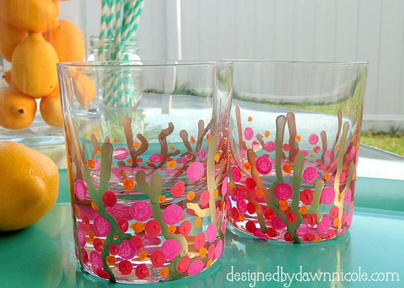DIY Coral Reef Confetti Glasses {Hello Summer}
