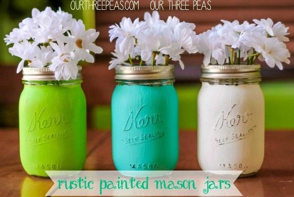 Rustic Painted Mason Jars