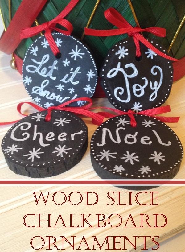 Chalkboard Paint Wood Slice Ornaments