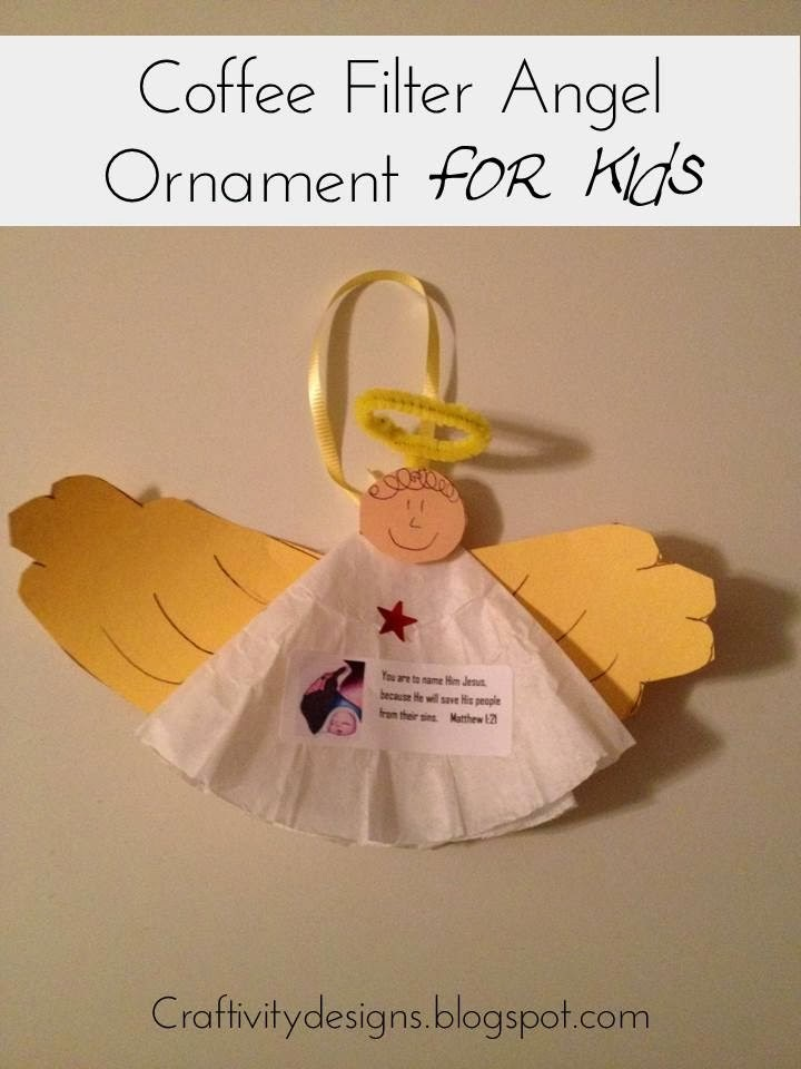 Kids Craft Coffee Filter Angel Ornaments