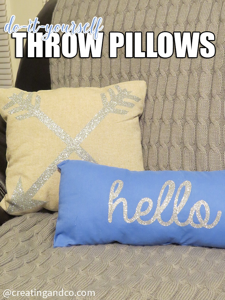 DIY No Sew Throw Pillows with Glitter Applique