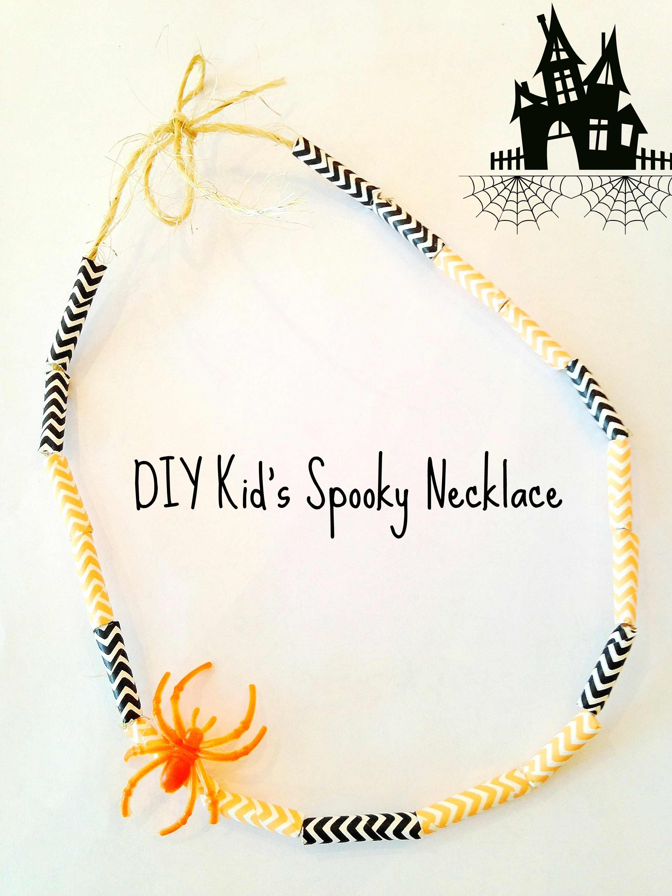 DIY Halloween Spooky Straw Necklace