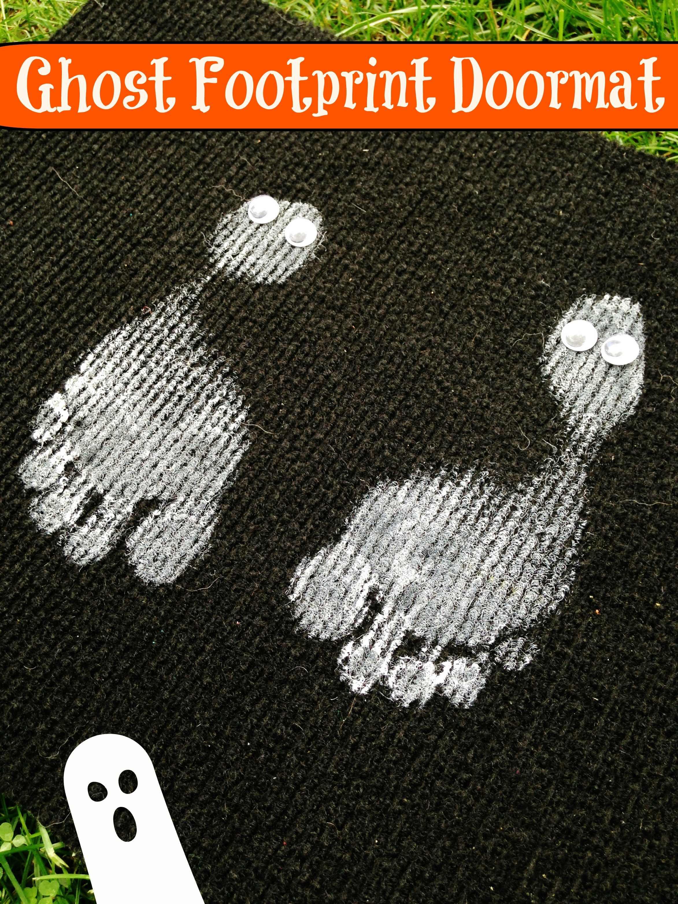 DIY Kids Halloween Ghost Footprint Rug Dollar Store Craft