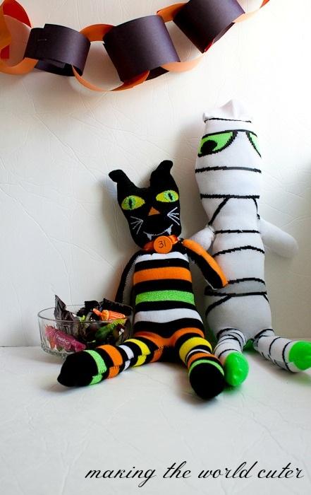 Halloween Sock Mummy and Sock Cat