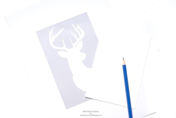 Holiday inspired DIY watercolor reindeer silhouette