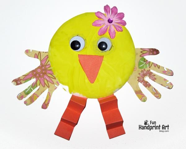 Paper Plate Handprint Chicks Easter Craft