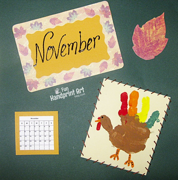 Handprint Turkey November Calendar Page