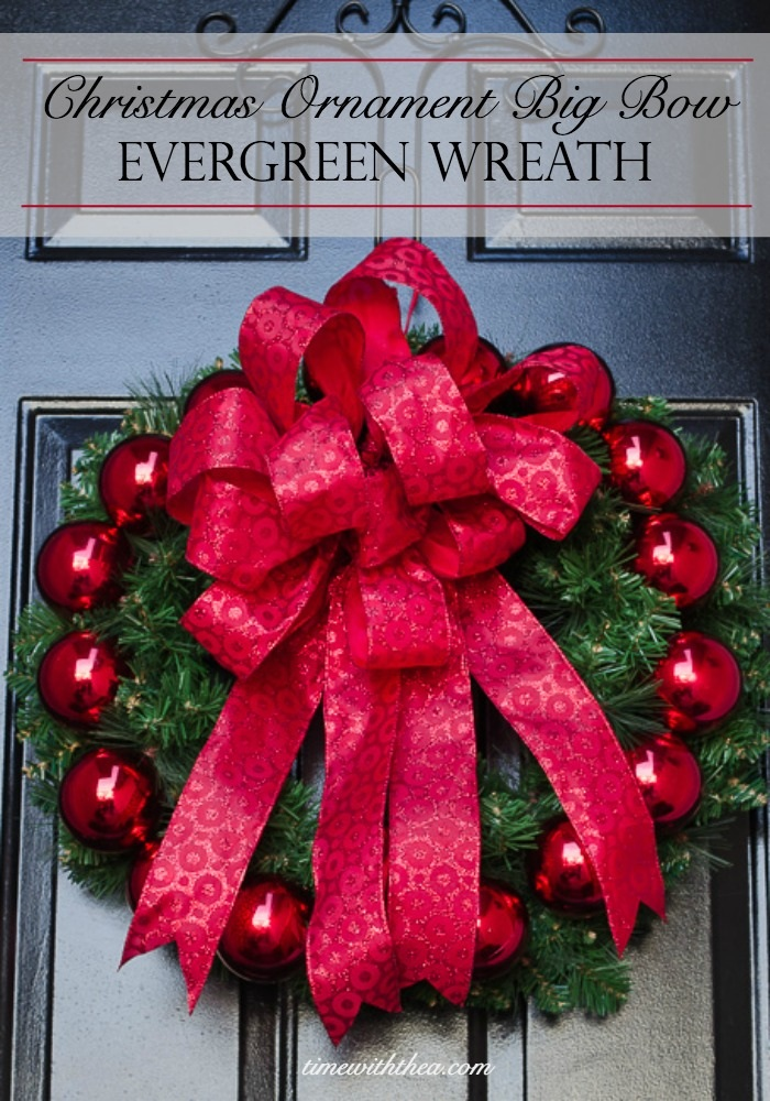 Christmas Ornament Big Bow Evergreen Wreath