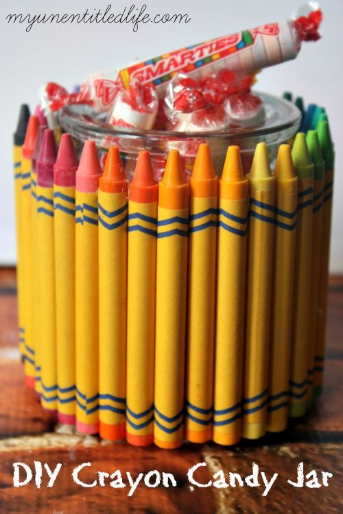 DIY Crayon Candy Jar Teachers Gift
