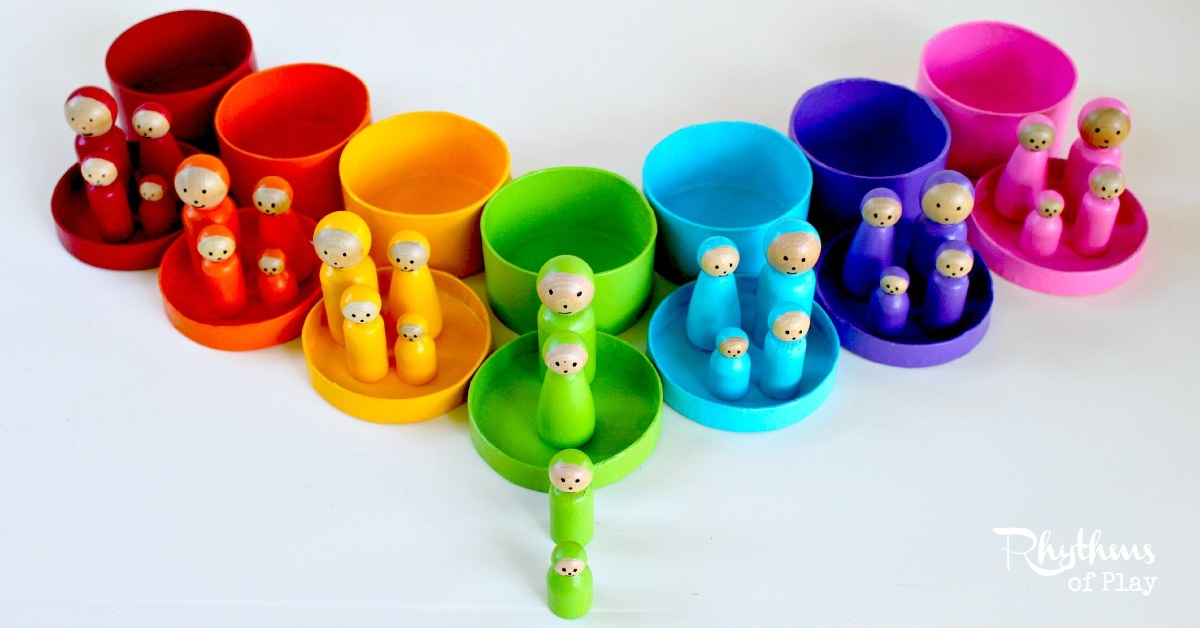 DIY Rainbow Peg Doll Families for Pretend Play and Matching Games