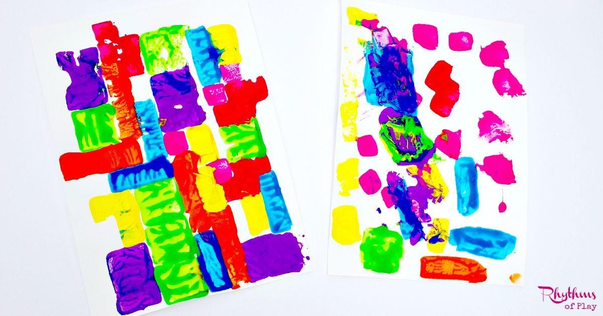Painting with Foam Blocks